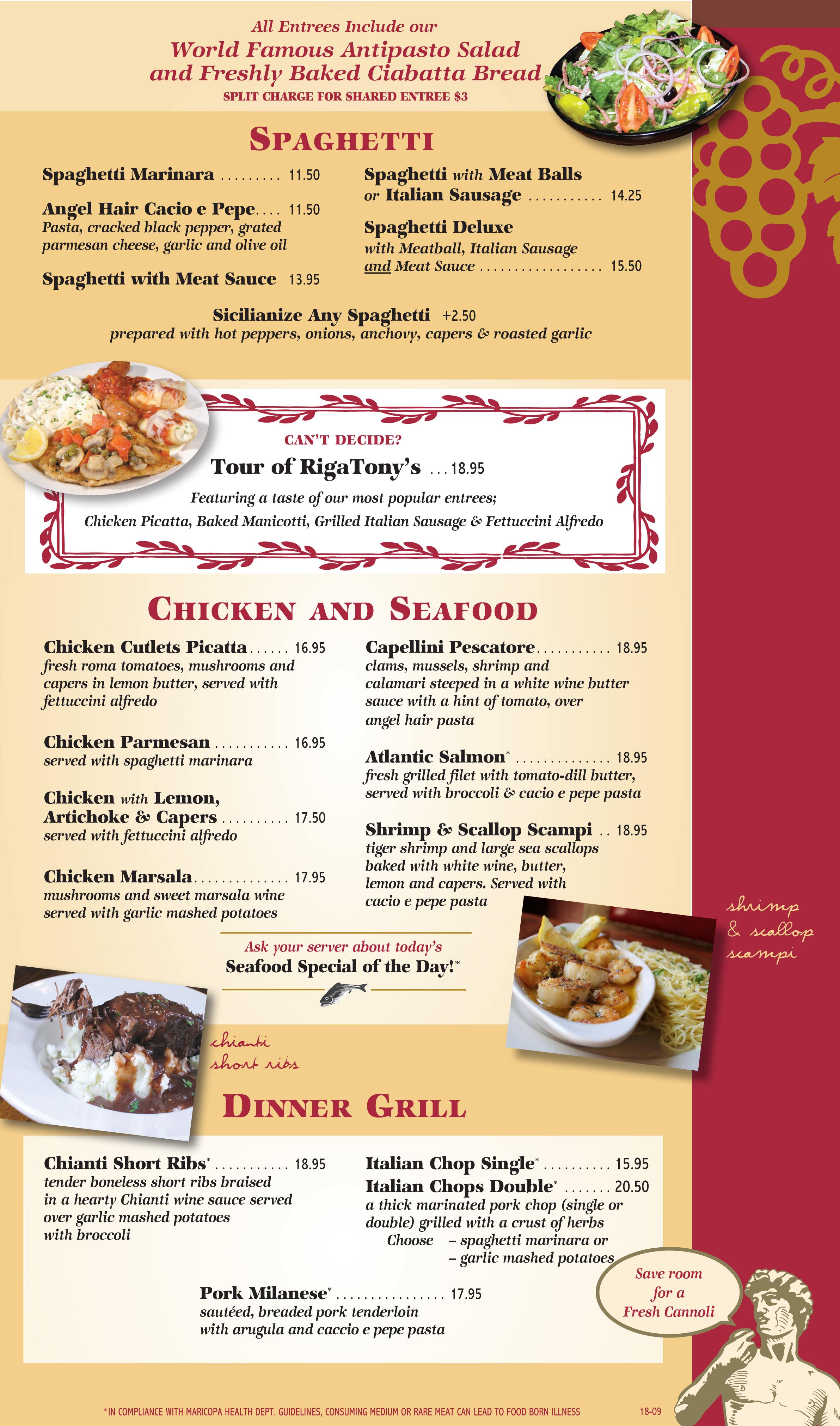 dinner menu  u2013 italian restaurant tempe